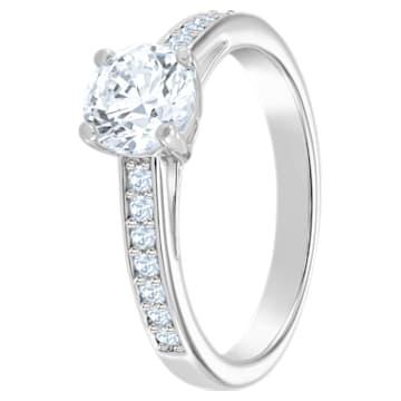 Attract Round Ring, White, Rhodium plated - Swarovski, 5032920