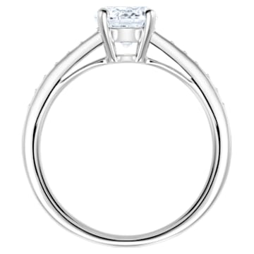 Attract Round Ring, White, Rhodium plated - Swarovski, 5032920