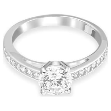 Attract Round Ring, White, Rhodium plated - Swarovski, 5032921