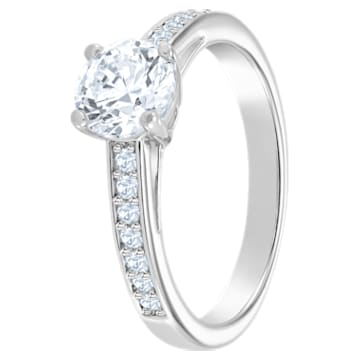 Attract ring, Round, Pavé, White, Rhodium plated - Swarovski, 5032922