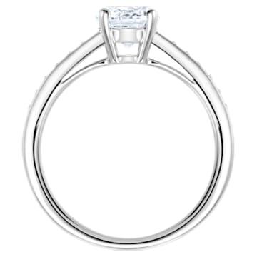 Attract Round Ring, weiss, Rhodiniert - Swarovski, 5032923