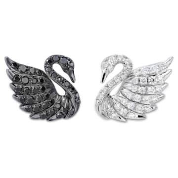 18K WG Dia Double Swans Earrings (BK/WH) - Swarovski, 5036326