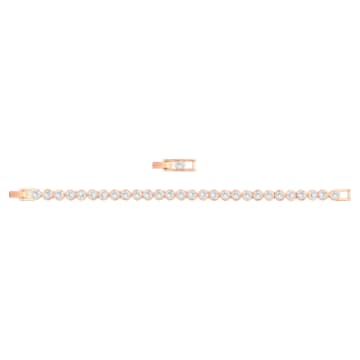 Tennis Bracelet, White, Rose-gold tone plated - Swarovski, 5039938