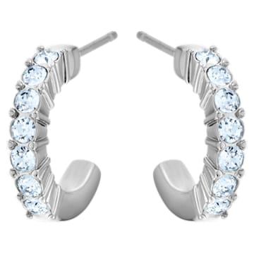 Mini Hoop 穿孔耳环, 蓝色, 镀铑 - Swarovski, 5073036