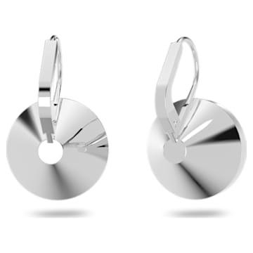 Bella 穿孔耳环, 圆形切割, 小码 , 白色, 镀铑 - Swarovski, 5085608