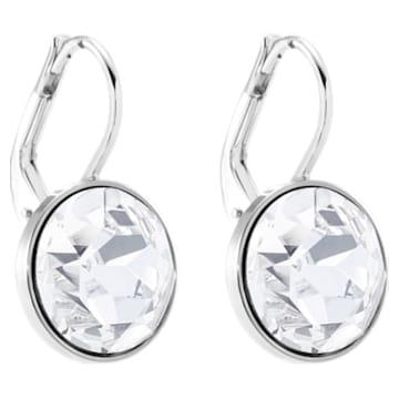 Bella Mini 穿孔耳环, 白色, 镀铑 - Swarovski, 5085608