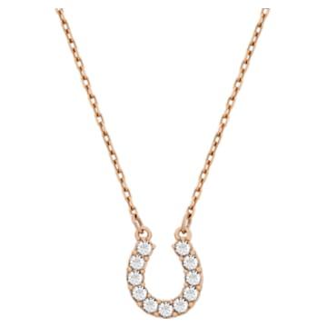 Towards 项链, 马蹄铁, 白色, 镀玫瑰金色调 - Swarovski, 5094964