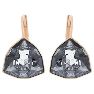 Brief Pierced Earrings, Gray, Rose Gold Plating - Swarovski, 5098376
