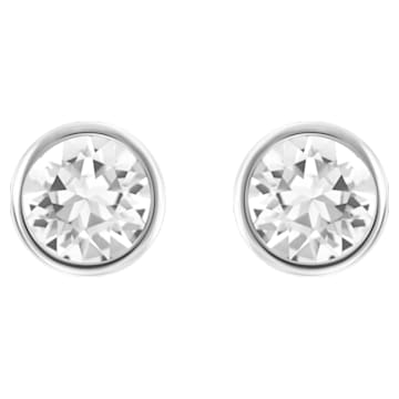 Solitaire 穿孔耳环, 白色, 镀铑 - Swarovski, 5101338