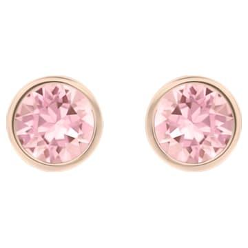 Solitaire 穿孔耳环, 粉红色, 镀玫瑰金色调 - Swarovski, 5101339