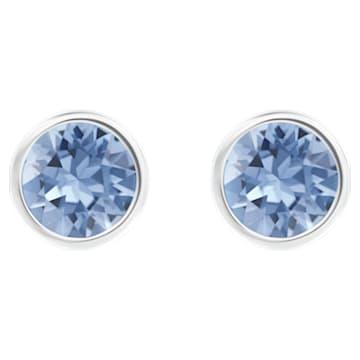 Boucles d'oreilles Solitaire, bleu, Métal rhodié - Swarovski, 5101342