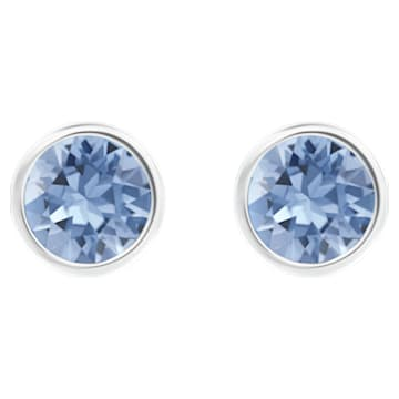 Solitaire 穿孔耳环, 蓝色, 镀铑 - Swarovski, 5101342