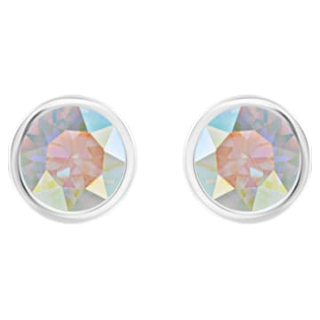 Solitaire pierced earrings, Multicoloured, Rhodium plated - Swarovski, 5101343