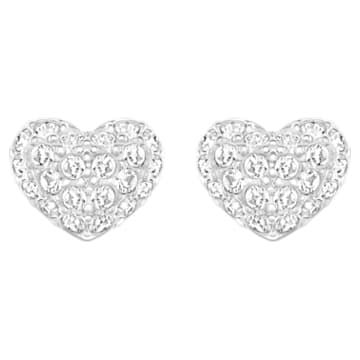 Heart 穿孔耳環, 心形, 白色, 鍍白金色 - Swarovski, 5109990