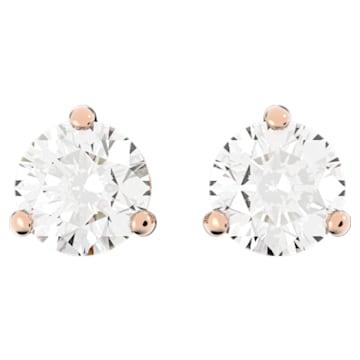 Τρυπητά σκουλαρίκια Solitaire, λευκά, επιχρυσωμένα με ροζ χρυσό - Swarovski, 5112156