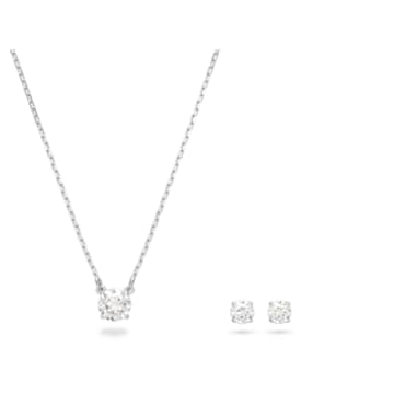 Set Attract Round, bianco, Placcatura rodio - Swarovski, 5113468