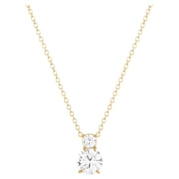 Solitaire Double 链坠, 白色, 镀金色调 - Swarovski, 5120647