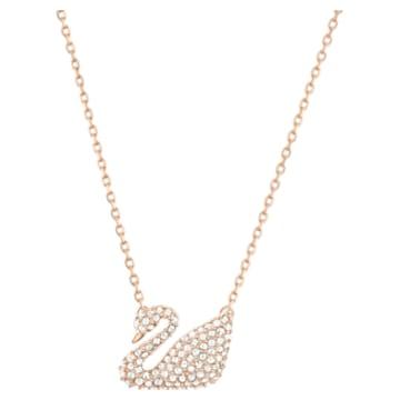 Swan 項鏈, 天鵝, 白色, 鍍玫瑰金色調 - Swarovski, 5121597
