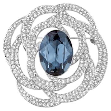 Barrett Brooch, Blue, Rhodium plated - Swarovski, 5122715