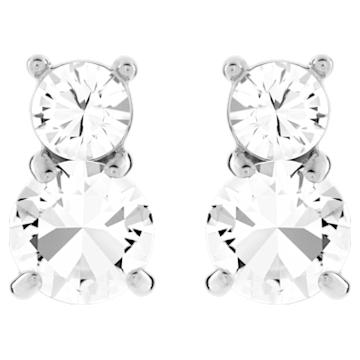 Solitaire Double 穿孔耳环, 白色, 镀金色调 - Swarovski, 5128808