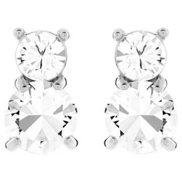 Solitaire Double pierced earrings, White, Gold-tone plated - Swarovski, 5128808