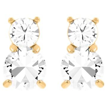 Boucles d'oreilles Solitaire Double, Blanc, Métal doré - Swarovski, 5128809