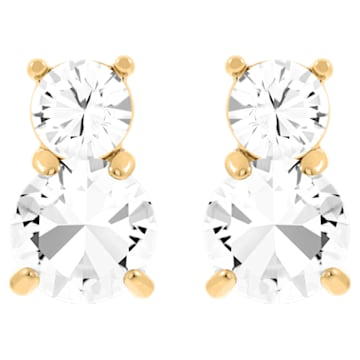 Solitaire Double 穿孔耳环, 白色, 镀金色调 - Swarovski, 5128809