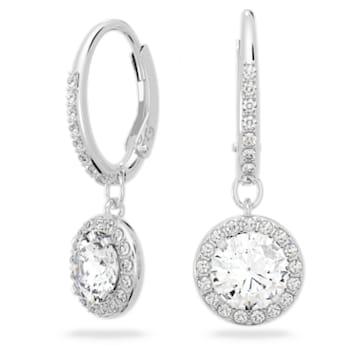 Angelic 穿孔耳环, 圆形切割, 白色, 镀铑 - Swarovski, 5142721