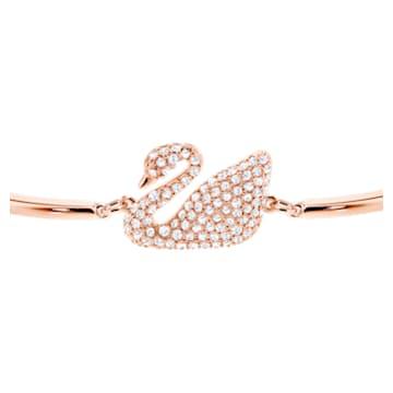 Bracelet-jonc Swan, Cygne, Blanc, Métal doré rose - Swarovski, 5142752