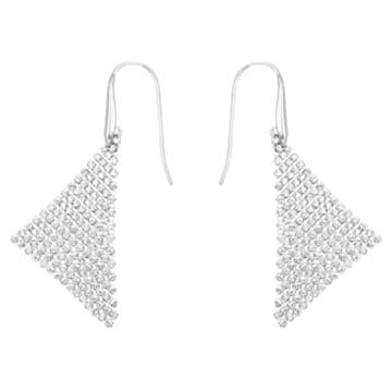 Fit 穿孔耳环, 白色, 镀铑 - Swarovski, 5143068