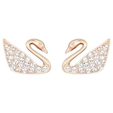 Orecchini Swan, bianco, Placcato oro rosa - Swarovski, 5144289