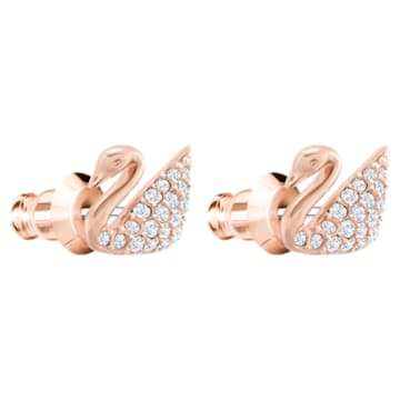 Swan Pierced Earrings, White, Rose-gold tone plated - Swarovski, 5144289