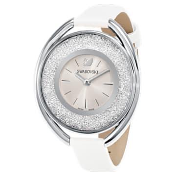 Montre Crystalline Oval, Bracelet en cuir, blanc, ton argenté - Swarovski, 5158548