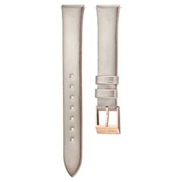 Correa de reloj 12mm, Piel, gris claro, baño tono oro rosa - Swarovski, 5159361
