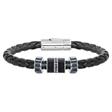 Diagonal 手链, 皮革, 黑色, 不锈钢 - Swarovski, 5159648