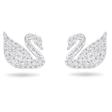 Swan Pavé stud earrings, Swan, White, Rhodium plated - Swarovski, 5161256