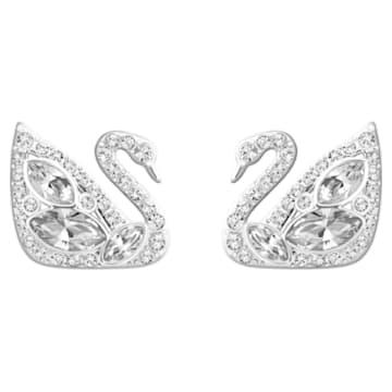 Swan Lake 穿孔耳環, 白色, 鍍白金色 - Swarovski, 5170648