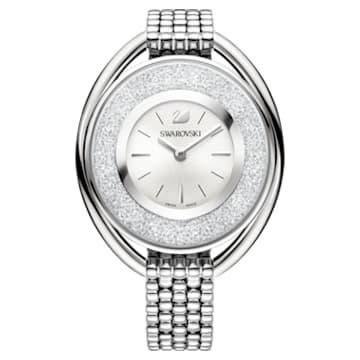 Orologio Crystalline Oval, Bracciale di metallo, bianco, acciaio inossidabile - Swarovski, 5181008