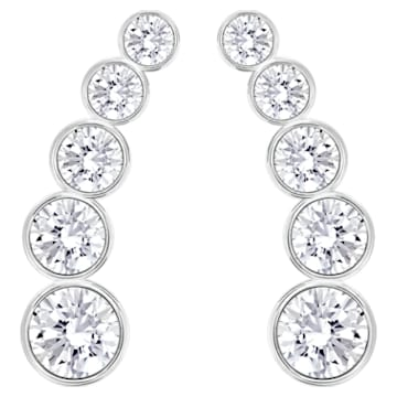 Harley Pierced Earrings, White, Rhodium Plating - Swarovski, 5181489