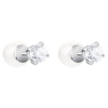 Τρυπητά σκουλαρίκια Angelic, λευκά, επιροδιωμένα - Swarovski, 5183618
