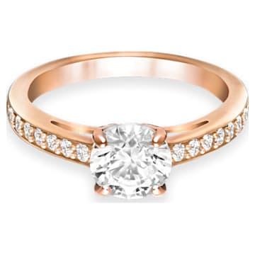 Attract Round 戒指, 白色, 鍍玫瑰金色調 - Swarovski, 5184217