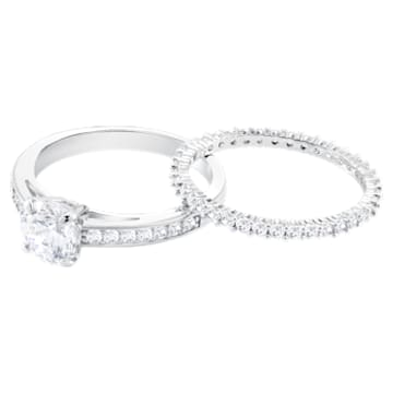 Attract Ring Set, White, Rhodium plated - Swarovski, 5184317