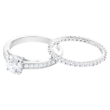 Zestaw pierścionków Attract, biały, powlekany rodem - Swarovski, 5184979