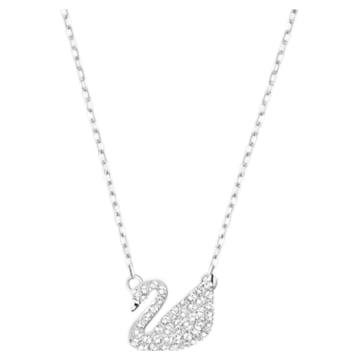 Swan Pavé pendant, Swan, White, Rhodium plated - Swarovski, 5187404