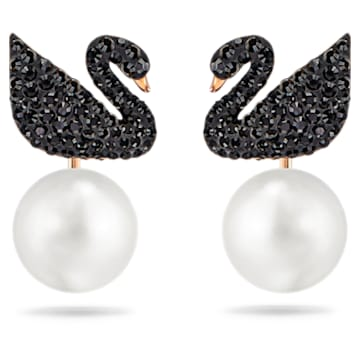 boucles d'oreilles transformables Swarovski Iconic Swan, Cygne, Noir, Placage de ton or rosé - Swarovski, 5193949