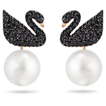 Swarovski Iconic Swan fülönfüggő, Hattyú, Fekete, Rózsaarany-tónusú bevonattal - Swarovski, 5193949