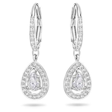 Angelic 穿孔耳環, 梨形切割水晶, 白色, 鍍白金色 - Swarovski, 5197458