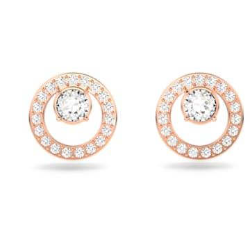 Τρυπητά σκουλαρίκια Creativity Circle, λευκά, επιχρυσωμένα με ροζ χρυσό - Swarovski, 5199827