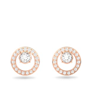 Orecchini a lobo Creativity, Circolare, Bianco, Placcato color oro rosa - Swarovski, 5199827