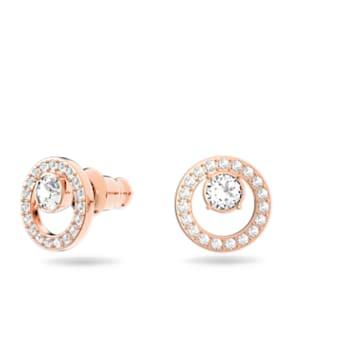 Creativity Circle Pierced Earrings, White, Rose-gold tone plated - Swarovski, 5199827